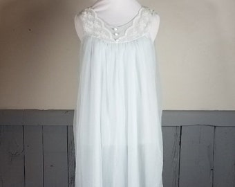 b5bcba48f OnSale Vintage 2 layer nylon nightgown size medium sheer overlay soft lace  trim baby blue