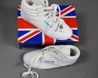 98df4a8e3 Vintage authentic 1980s Reebok Classic Freestyle Hi Leather White/White Sz  womens 9.5 aerobic