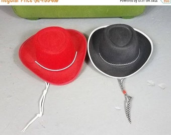 ccfc074362fea OnSale Vtg 1950 s style Childs Cowboy  Cowgirl Hat Woody Toy Story Felt Hats  Red Black