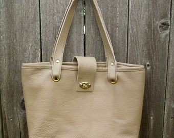 Helene Leather Tote in Taupe