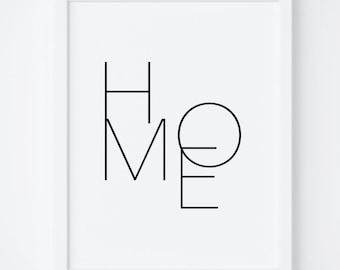 "Printable Art ""Home"" Digital Print, Typography, Poster Print, Wall Decor, Wall Art, Black and White Print. Home Print, Home Printable,Prints"