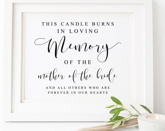 This Candle Burns Sign-In Loving Memory Sign-Memory Table Sign-Wedding Memorial Sign-Mother Of The Bride Sign-Memorial Wedding Sign-Signs.