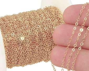 1 FT 1.7x2.1 mm 14K Gold Filled Flat Cable Chain 27 1/2 Gauge (GF1318F) Price Per Foot