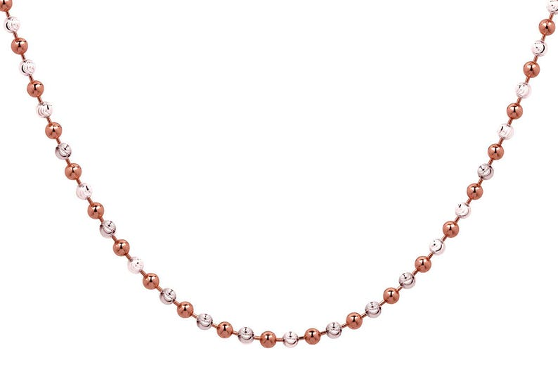 SSN100165 2.5 mm 925 Sterling Silver Rose Gold Plated Two-Tone Ball Necklace 16 To 20 Inch Length