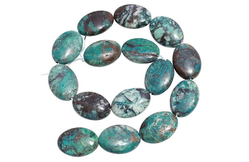 CRYAVL1825 15 IN Strand 18x25 mm Chrysocolla Oval Smooth Gemstone Beads