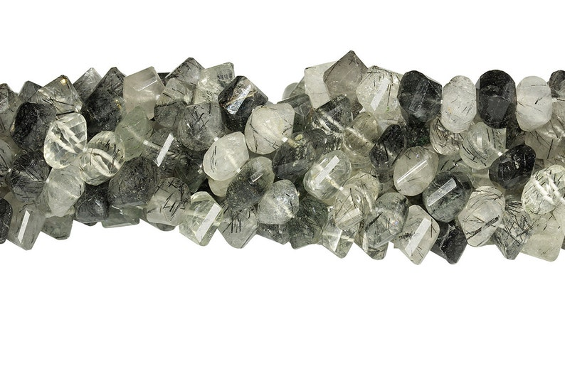 10 IN Strand 8 mm Tourmalated Quartz Rectangle Shaped Twisted Faceted Gemstone Beads TQ100102