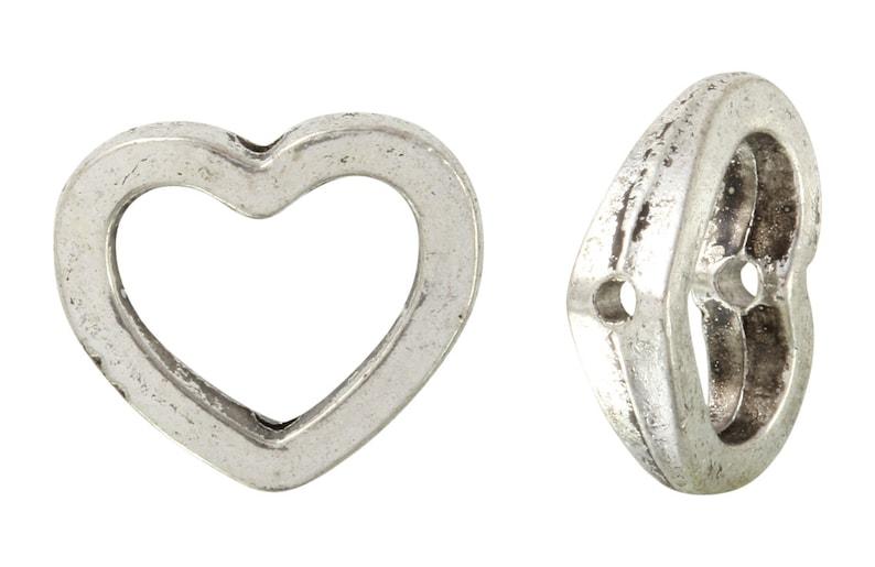 20 Pcs 12x14 mm Zinc Alloy Heart Outine Beads PUT6001116