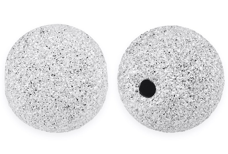 10 Pcs 6 mm Sterling Silver Round Stardust Beads SS520406