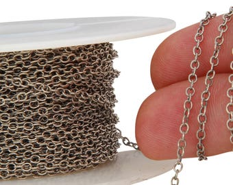 1 FT 1.9x2.3 mm Sterling Silver Oxidized Cable Chain (SS1617OXI) Price Per Foot