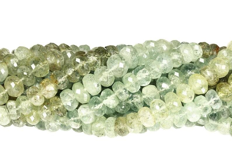 AQURLF0007 15 IN Strand 7 mm Moss Aquamarine Rondelle Faceted Gemstone Beads