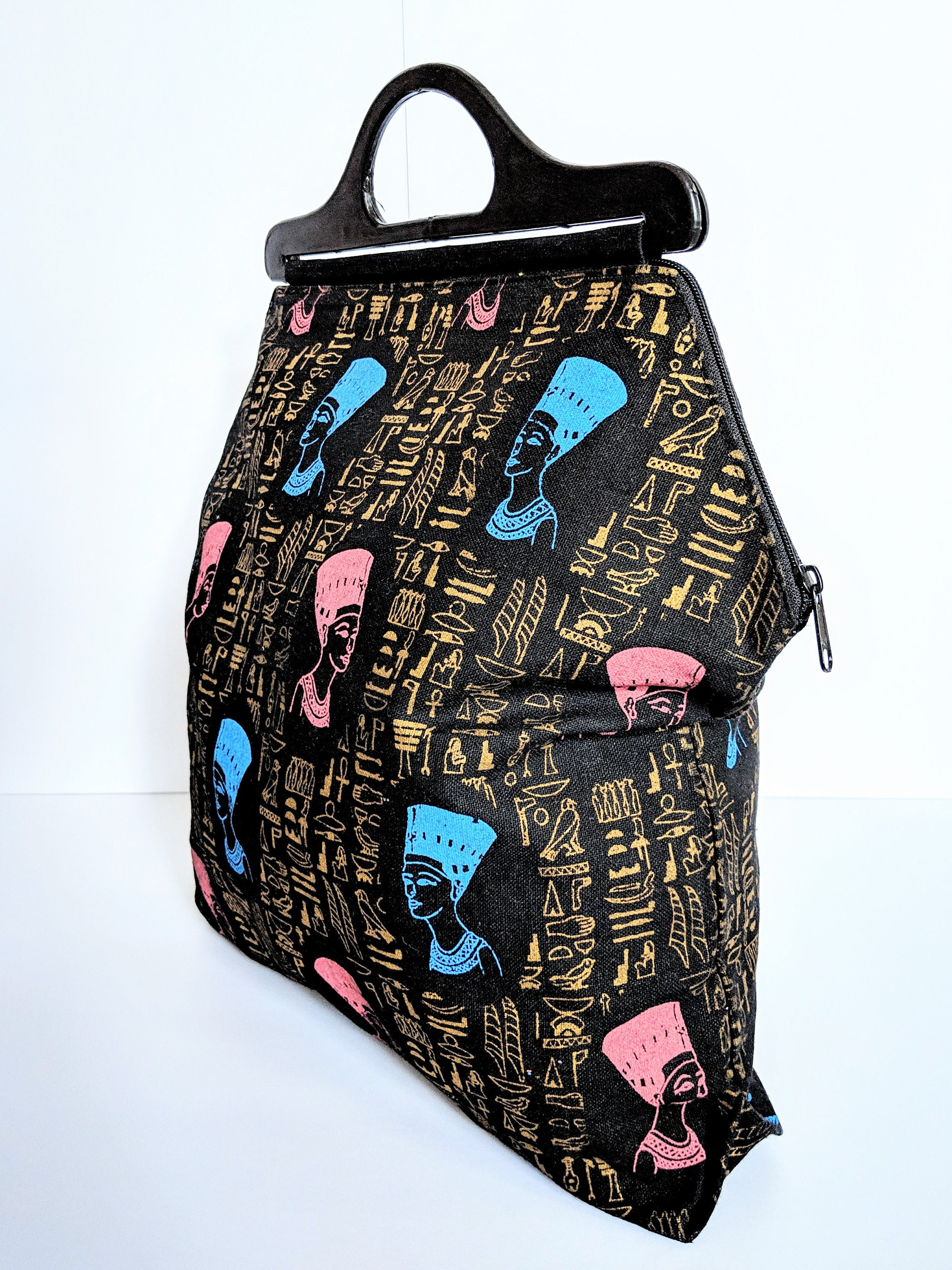 Vintage Nefertiti Egyptian Tote Bag With Zipper Blue And Pink Etsy