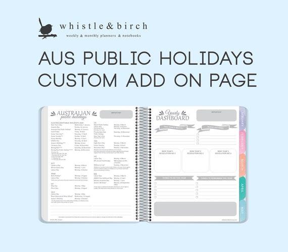 Australian 2021 2020 Public Holidays Custom Add On Pages Etsy