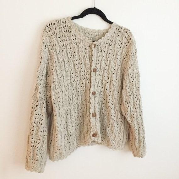 Vintage Beige Tan Crochet Cardigan Sweater