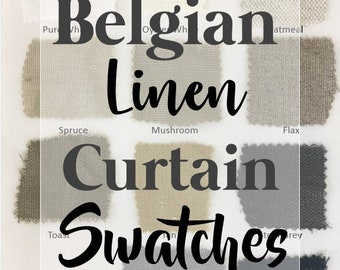 Belgian Linen Curtain swatches, Canvas Weight Linen, 8oz per square yard or 250gsm, Soft loomed, Ready to Ship