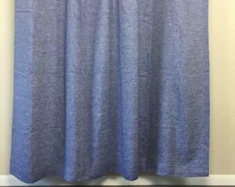 Chambray Denim Blue Linen Shower Curtain Mildew Free 72x72 72x85 72x94 Or Custom Size