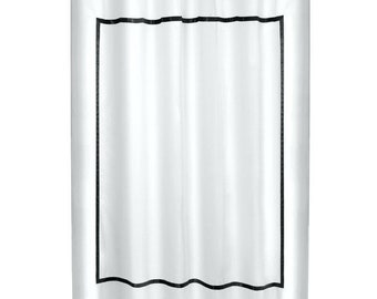 White Linen Shower Curtain With Border Trim Hotel Framed