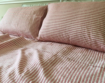 Red And White Striped Bed Sheets In Natural Linen, Fitted Sheet, 2 Pillow  Cover, Flat Sheet, Extra Large Sheets Set, Dorm Bedding