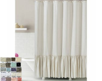 Linen Shower Curtain With Mermaid Long Ruffles Make Your Bathroom Look Appealing Custom Extra Wide