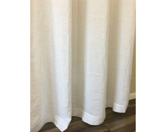 White Linen Shower Curtains Mildew Free 72x72 72x85 72x94 Custom Curtain Extra Long Or Wide
