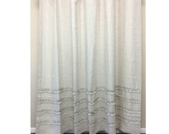 Natural Linen Shower Curtain With 4 Rows Of Ruffles Undyed Farmhouse Style 72x72 72x85 72x94 Or Custom Size