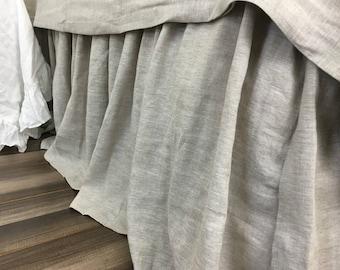 """SALE‼️ Neiman Marcus Horchow Queen Farmhouse Decor Bedskirt 100/% Linen 19"""" Drop"""