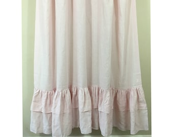 Chambray Blush Pink Linen Shower Curtain With 2 Tiered Mermaid Long Ruffles 72x72 72x85 72x94 Custom Extra