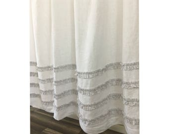 White Linen Shower Curtain With Grey Ticking Stripes 4 Rows Of Ruffles 72x72 72x85 72x94 Custom Extra Long Wide