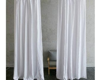een paar wit linnen gordijnen aangepaste gordijnen extra lange gordijnen