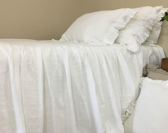 White Bedspread, Natural Linen Bedspread, White Linen Bed Cover, Queen  Bedspread, King Bedspread, Twin Bedspread