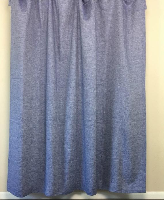 Chambray Denim Blue Linen Shower Curtain Mildew Free 72x72