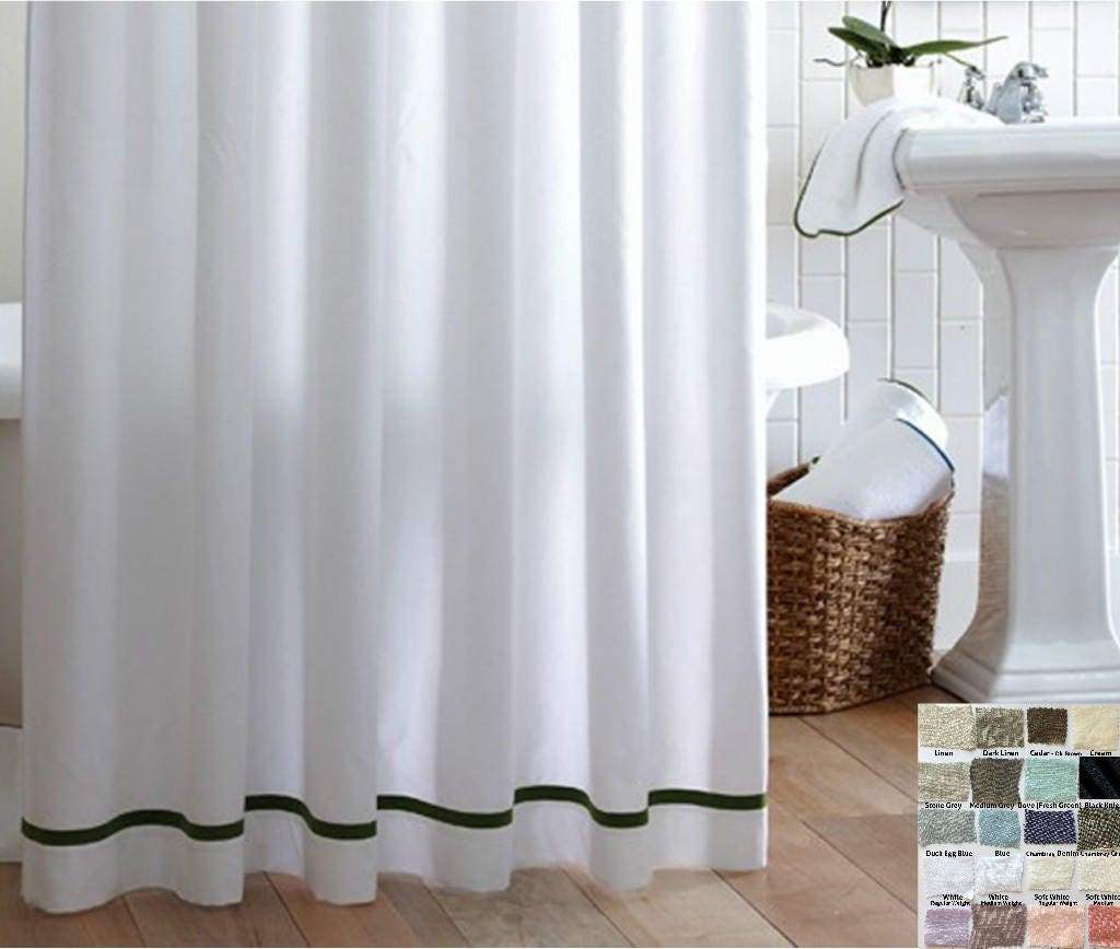 Linen Shower Curtain With Stripes Accent Custom Shower Curtains 40 Linen Fabrics Mix And Match Your Way