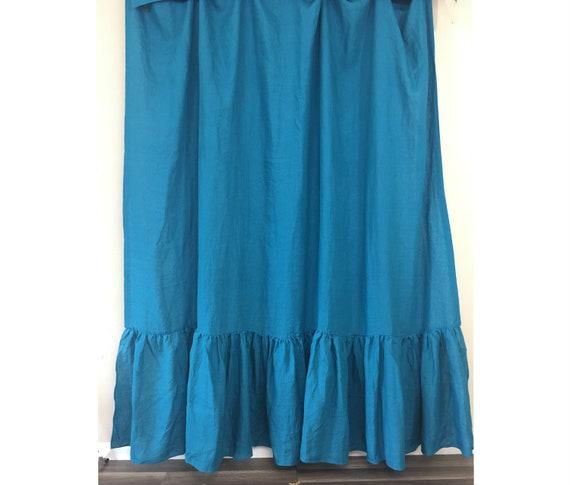 Teal Blue Linen Shower Curtain With Mermaid Long Ruffles