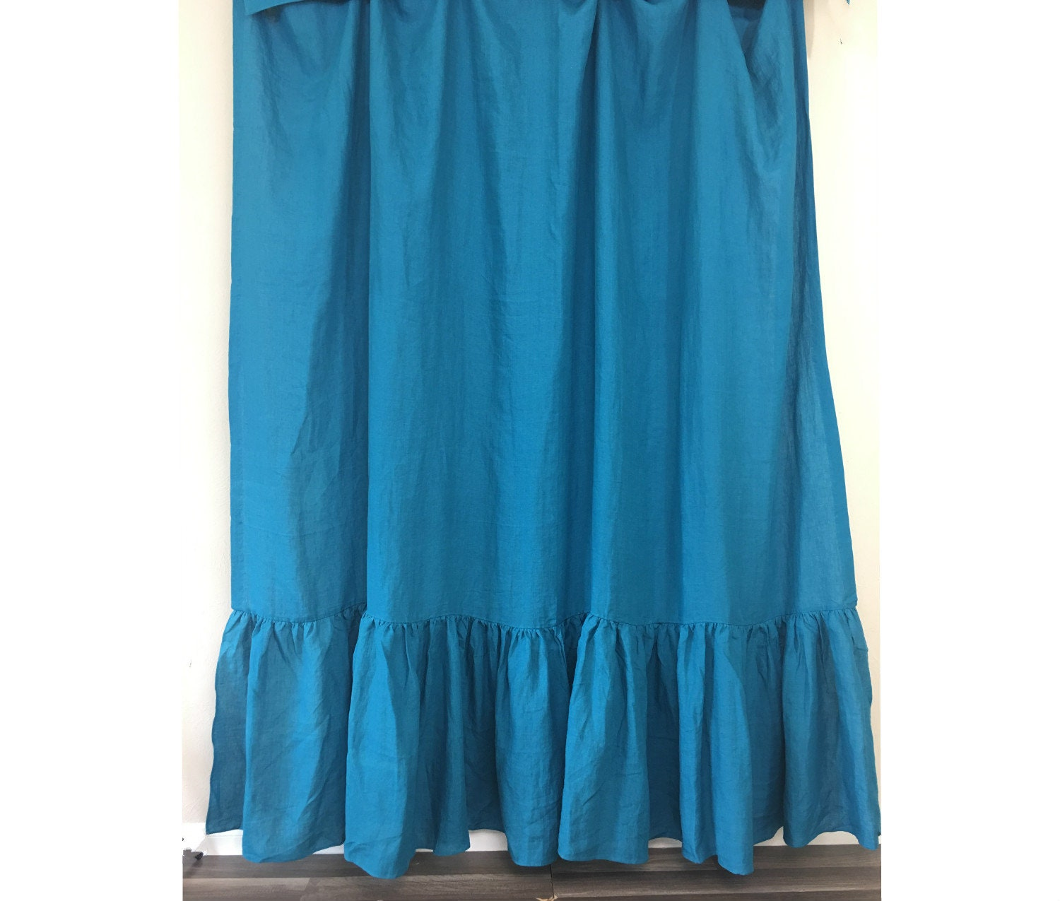 Teal Blue Linen Shower Curtain With Mermaid Long Ruffles Blue Linen Custom Shower Curtain Extra Long Wide