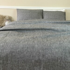 Grey Chambray Linen Duvet Cover Handmade Chambray Bedding Etsy