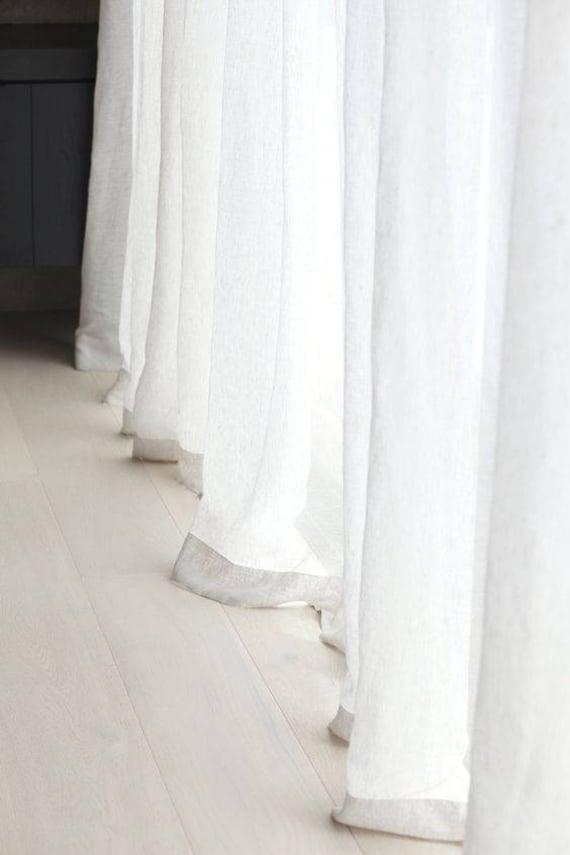 Tende Di Lino Bianche.Un Paio Di Tende Lino Bianco Pura Tenda Pannelli Finestra Etsy