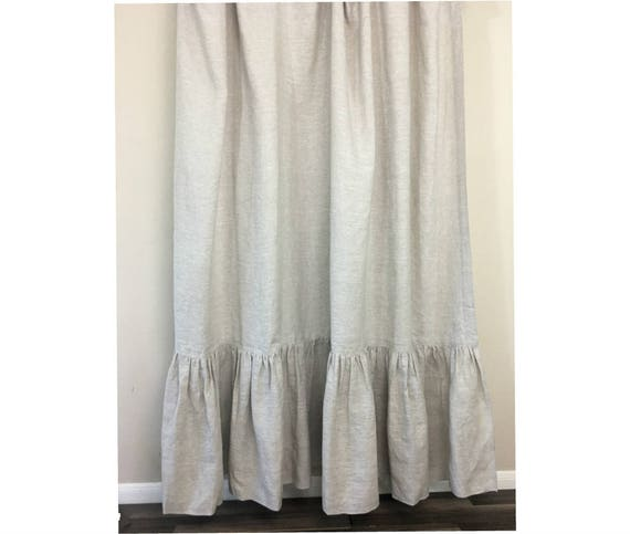 Linen Shower Curtain With Mermaid Long Ruffles Make Your Bathroom Look Appealing 72x72 72x85 72x94 White Grey Cream Pink Blue