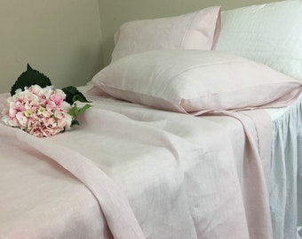 Chambray Blush Pink Linen Bed Sheets, Available In All Sizes Or Custom Size