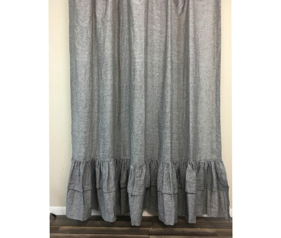 Chambray Grey Shower Curtain With Two Layers Of Ruffles