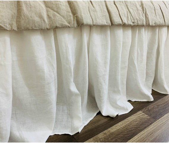 Sale 10% off White linen bed skirt Queen size 15 drop | Etsy