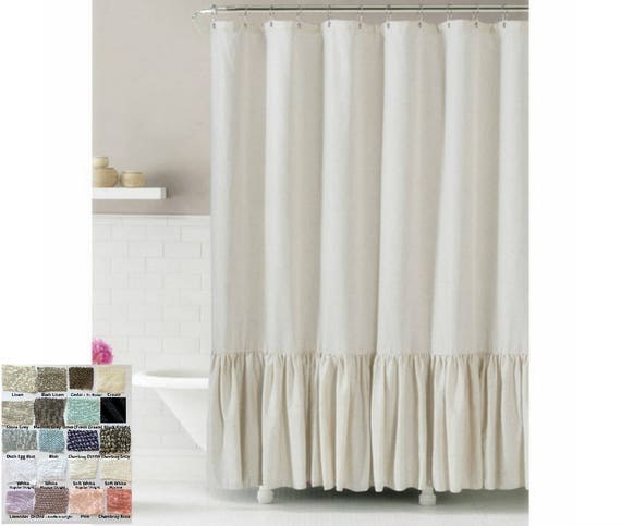Linen Shower Curtain With Mermaid Long Ruffles Make Your