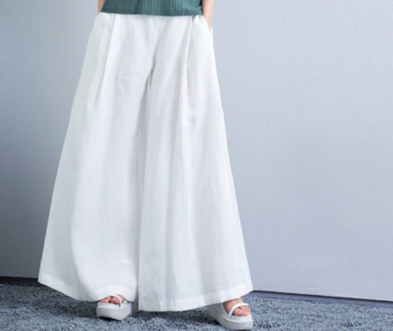 Linen Dress Pants, Wide Leg Pants with 2 side pockets, white linen pants,  black linen pants, women plus size pants. Sz S-5XL or custom size