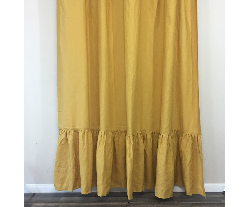 Mustard Gold Linen Shower Curtain With Mermaid Long Ruffles