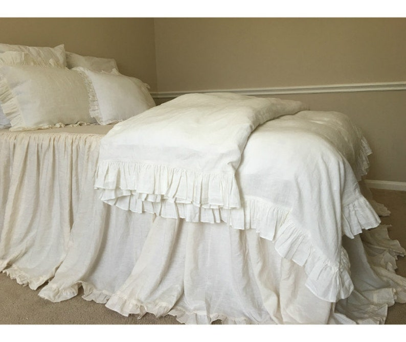Fine Soft White Ruffle Duvet Cover Ruffle Bedding Shabby Chic Duvet Cover Available In Queen King Or Custom Size Home Remodeling Inspirations Basidirectenergyitoicom