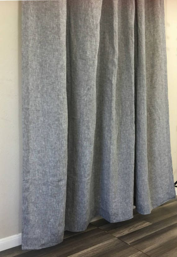 Chambray Grey Linen Shower Curtain Mildew Free 72x72