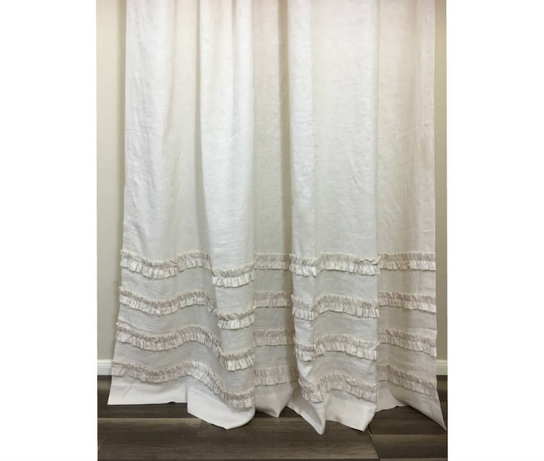 Cream Linen Shower Curtain With 4 Rows Of Ruffles Stunning