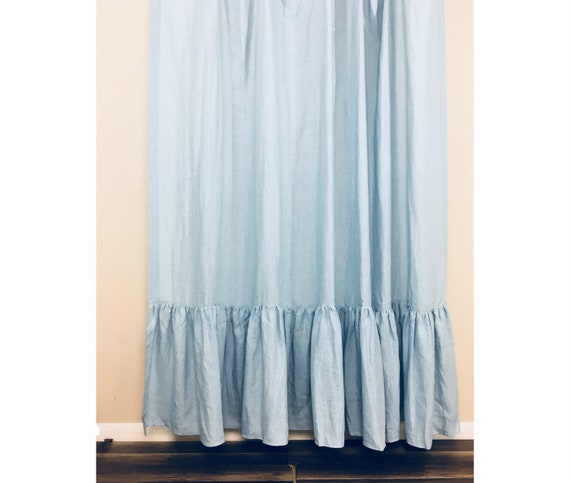 Sale 15 Off Blue Linen Shower Curtain With Mermaid Long Etsy