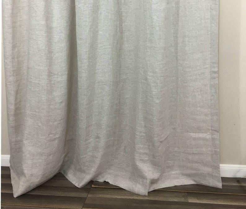 Natural Linen Shower Curtains Medium Weight
