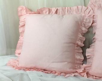 Pink Ruffle Euro Sham Cover, linen ruffle pillow covers, accented euro shams, sham covers, pillow protector
