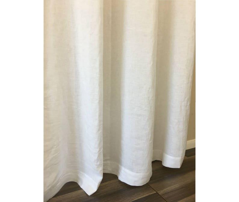 White Linen Shower Curtains Mildew Free 72x72 72x85 72x94