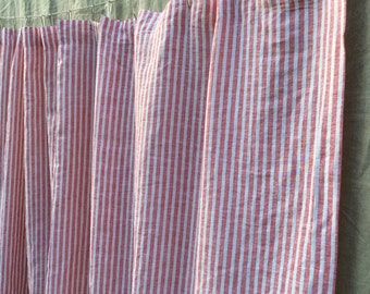 White And Red Ticking Stripe Shower Curtain 72x72 72x85 72x94